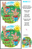 Find the differences - bunnies and carrots. Picture puzzle: Find the seven differences between the two pictures of bunnies and carrots (plus same task text in Stock Photo