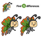 Find differences, Butterfly. Find differences, education game for children, Butterfly Stock Image