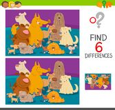 Find differences cartoon game with dogs. Cartoon Illustration of Find the Differences between Pictures Educational Game for Children with Dogs Animal Characters Royalty Free Stock Photo