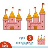 Find differences, Castle. Find differences, education game for children, Castle Stock Image