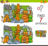 Find differences with cats animal characters. Cartoon Illustration of Finding Seven Differences Between Pictures Educational Activity Game for Children with Cats Stock Photography