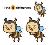 Find differences for children (bee). Find differences, education game for children (bee Royalty Free Stock Image