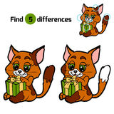 Find differences for children: Christmas animals (cat). Find differences for children: Christmas animals (cat and gift Royalty Free Stock Photo