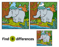 Find differences for children, elephant and background Stock Image