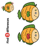 Find differences for children (fish). Find differences, education game for children (fish Stock Photos