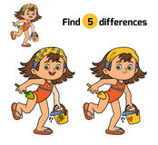 Find differences for children. Girl on the beach. Find differences, education game for children. Girl on the beach Royalty Free Stock Image
