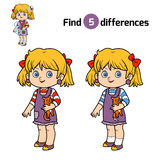 Find differences for children, Girl. Find differences, education game for children, Girl Royalty Free Stock Photography