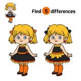 Find differences for children, Girl. Find differences, education game for children, Girl Royalty Free Stock Photo