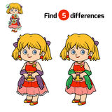 Find differences for children, Girl. Find differences, education game for children, Girl Stock Photos