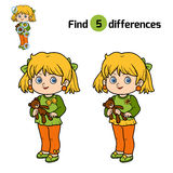 Find differences for children, Girl. Find differences, education game for children, Girl Stock Images