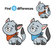 Find differences for children (gray cat) Stock Images