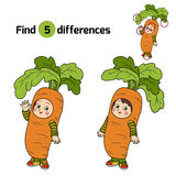 Find differences for children: Halloween characters (carrot cost. Find differences game for children: Halloween characters (carrot costume Stock Images