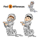 Find differences for children: Halloween characters (mummy). Find differences game for children: Halloween characters (mummy Stock Photography
