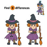 Find differences for children: Halloween characters (witch). Find differences game for children: Halloween characters (witch Royalty Free Stock Photography