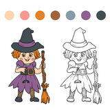 Find differences for children: Halloween characters (witch) Royalty Free Stock Photos