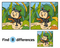 Find differences for children. Little ant on the meadow. Find differences, education game for children. Little ant on the meadow Royalty Free Stock Image