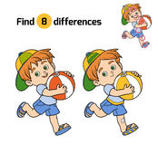 Find differences for children. Little boy with a ball Royalty Free Stock Photos