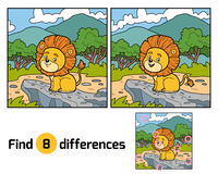 Find differences for children. Little Lion in Africa. Find differences, education game for children. Little Lion in Africa Stock Photo