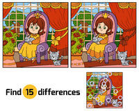 Find differences for children. Little princess on a throne. Find differences, education game for children. Little princess sitting on a throne with a rabbit in Stock Images