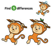 Find differences for children (monkey). Find differences, education game for children (monkey Stock Images