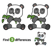 Find differences for children, panda. Find differences, education game for children, panda Stock Photo
