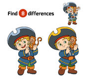 Find differences for children (pirate boy and monkey) Stock Images