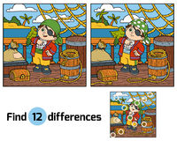 Find differences for children. Pirate on the deck of a ship. Find differences, education game for children. Pirate and Parrot are on the deck of a ship Stock Photos