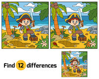 Find differences for children. Pirate and treasure chest. Find differences, education game for children. Pirate and treasure chest on a tropical island Royalty Free Stock Images