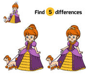 Find differences for children, Princess with dog. Find differences, education game for children, Princess with dog Royalty Free Stock Photos
