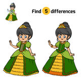 Find differences for children, Princess. Find differences, education game for children, Princess Stock Image