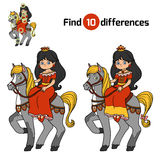 Find differences for children, Princess. Find differences, education game for children, Princess on horse Stock Images