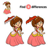 Find differences for children, Princess. Find differences, education game for children, Princess with umbrella Royalty Free Stock Image
