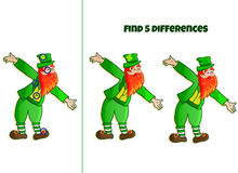 Find 5 differences. Children puzzle with image of funny leprechaun Royalty Free Stock Images