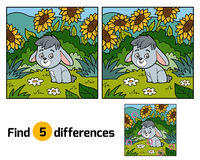 Find differences for children, rabbit and background Stock Image