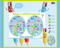Find the differences in the children`s game on the sea theme. Vector game know difference with funny pencils Stock Images