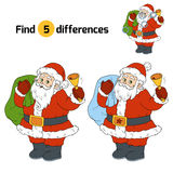 Find differences for children: Santa Claus with a bell. Find differences game for children: Santa Claus with a bell Stock Photo
