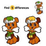 Find differences: Christmas animals (dog). Find differences for children: Christmas animals (dog Stock Image