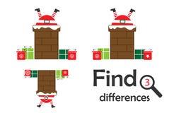 Find 3 differences, christmas game for children, Santa in chimney cartoon, education game for kids, preschool worksheet activity,. Task for the development of vector illustration