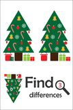 Find 3 differences, christmas game for children, xmas tree in cartoon style, education game for kids, preschool worksheet activity. Task for the development of stock illustration