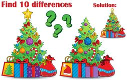 Find differences Christmas theme Royalty Free Stock Image