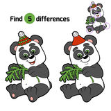 Find differences: Christmas winter panda. Game for children Stock Photos