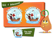 Find 5 differences Columbus Day Stock Images
