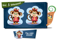 Find 5 differences Columbus Day. Visual Game for children. Task: find 5 differences Royalty Free Stock Photo