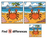 Find differences (crab and background). Find differences, education game for children (crab and background Stock Photo
