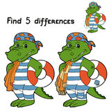 Find differences (crocodile). Game for children: Find 5 differences (crocodile Stock Image