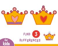 Find differences, Crown. Find differences, education game for children, Crown Royalty Free Stock Photos
