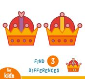 Find differences, Crown. Find differences, education game for children, Crown Stock Photography