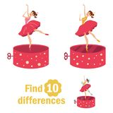 Find 10 differences. Dancer in the music box. Children`s page in bright colors of yellow, blue, red. Vector isolated illustration. Cartoon character Stock Image