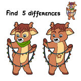 Find differences (deer). Game for children: Find 5 differences (deer Royalty Free Stock Images