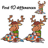 Find differences (deer). Game for children: Find 10 differences (deer and tea Stock Image